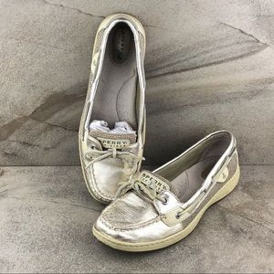 Sperry Angelfish Gold Boat Shoes Size 9